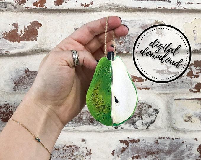 Christmas Ornament DIY Printable Paper Pear Fruit | Digital Download