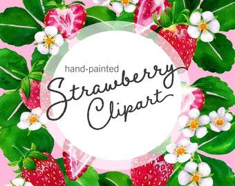 Watercolor Strawberry Clipart, strawberry flower illustrations, fruit botanical clip art, garden cottagecore aesthetic, digital download