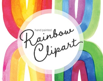 Watercolor Rainbow Clipart, rainbow party, baby shower, LGBTQ, Pride clip art, printable digital download