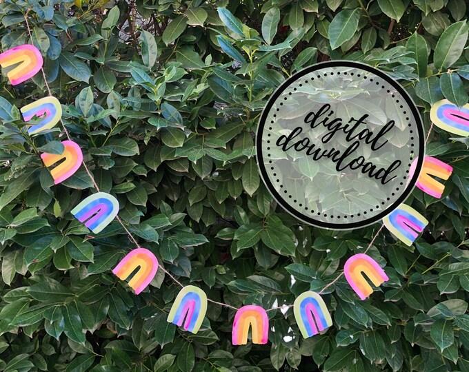 Rainbow Garland DIY in Pastel | St. Patrick's Day, Easter, Spring, LGBTQ Pride Paper Bunting Banner Flag | Digital Download