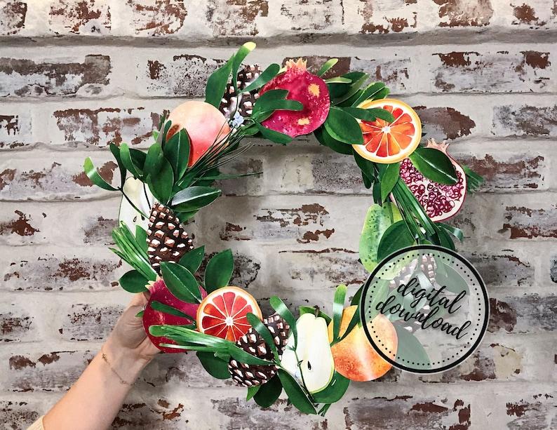 Thanksgiving Wreath DIY Paper Kit  Orange Citrus Pear image 0