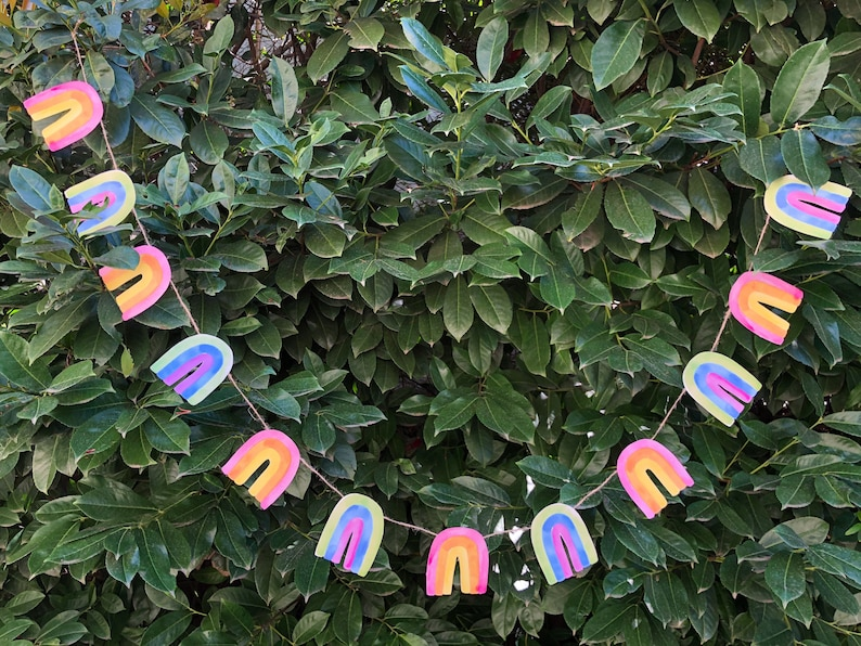 Rainbow Garland DIY in Pastel  St. Patrick's Day Easter image 0