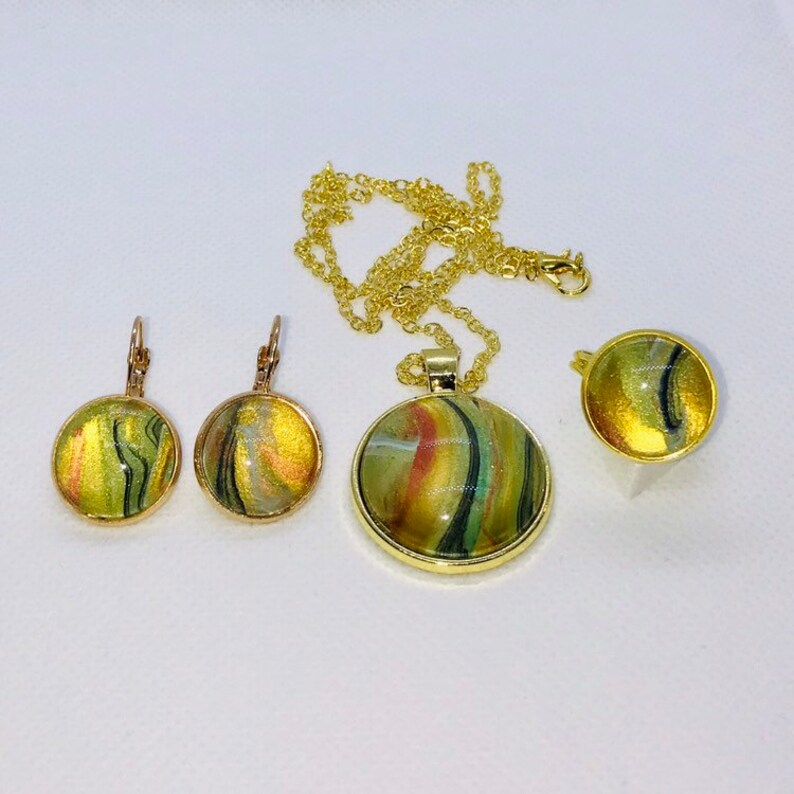 Handmade and Earrings Set with Glass Covered Green Copper Gold Black Fluid Acrylic Original Art Round Pendant Ring