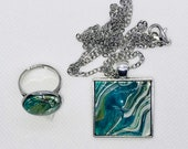 Square Pendant and Ring Set with Glass Covered Turqoise Green Copper White Fluid Acrylic Original Art - Handmade