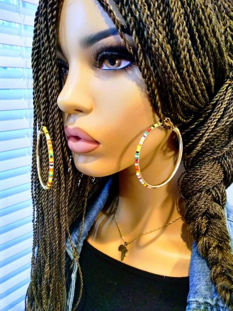 Bohemian multicolor Bead Round Hoop Earrings Basketball earrings Big statement Earrings classic circle Earrings