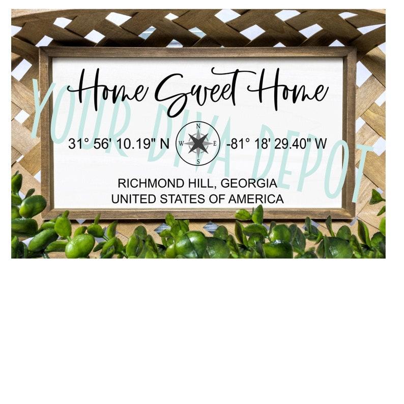 city town farmhouse sign nautical living room wall decor Home Sweet Home GPS coordinates Farmhouse decor wood sign Custom entry