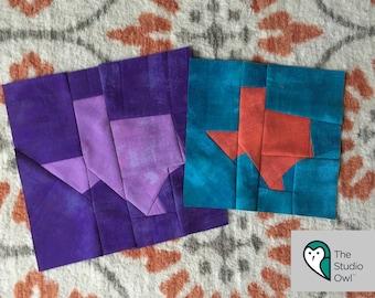 Texas Foundation Paper Piece Modern Quilt Block Pattern