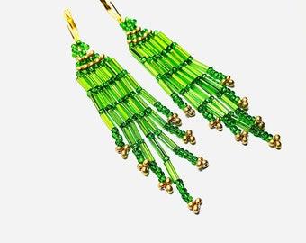 GREEN CHRISTMAS FRINGE Earrings Boho Seed Beaded Colorful Holiday Earrings New Year's Jewelry Gold Metallic Long Lever Back Earrings