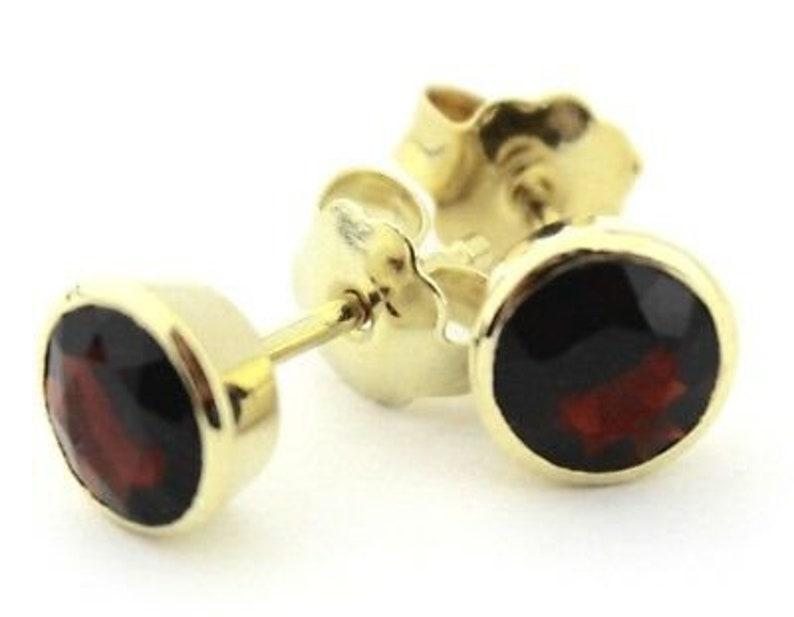 Garnet Almandin Earrings Studs Yellow Gold 585  14K x 7 mm Gold