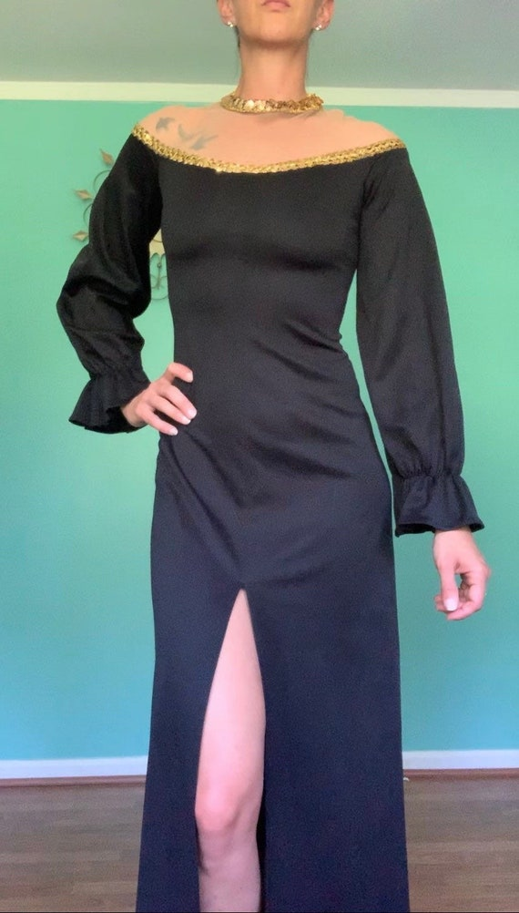 1970s Fredericks Of Hollywood Black Sleek Gown Cos