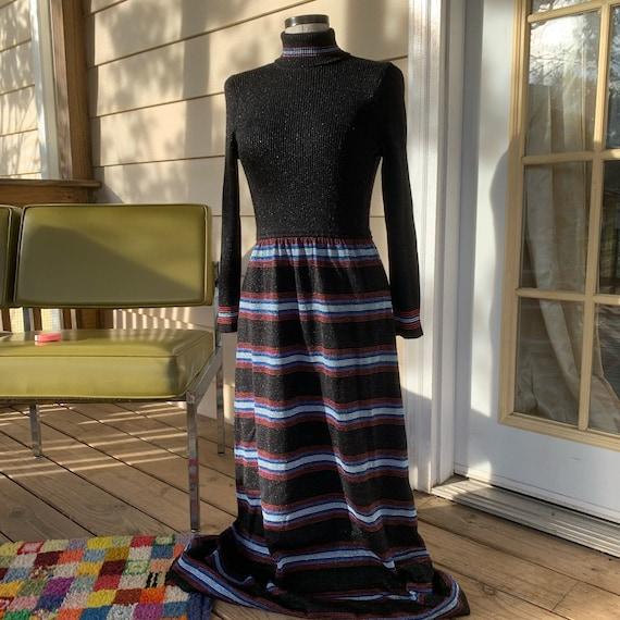 1970s Black Maxi Sweater Skirt Set Medium Marbella Knits 70s Black Knit Sweater Skirt Set