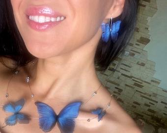 Earrings Mini Silk Butterfly, Blue Butterflies 4011, Natalia Wings, Butterfly Jewellery, Wing Jewelry, Earrings