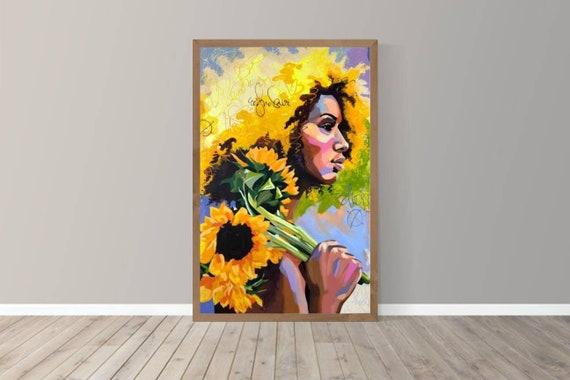 Letter Sized Art Print Vanity Decor 5x7 Sunflower Art Print Melanin Art Black Girl Magic Black Woman Illustration Summer Wall Art