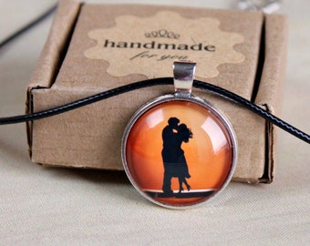 Silver Rose gold color  Lover Couple Necklace I Love You Pendant Gift bg16