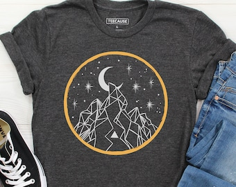 Night Sky - Line Art T Shirt, Hiking Tees, Outdoor Shirts, Wilderness Graphic Tee, Cool Outdoors Print, Forest Print, Minimal Line Drawing