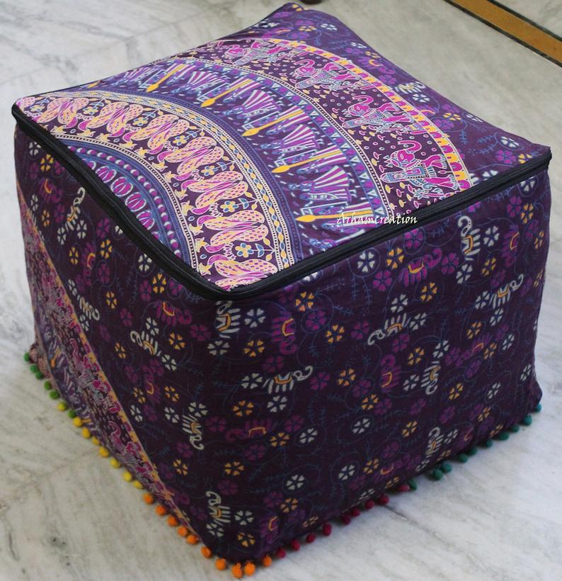 22X22 Inch Square Indian Handmade Multi Camel Mandala Cotton Pouf Cover Multi Mandala Ottoman Covers Room Decorative Footstool Covers Throw