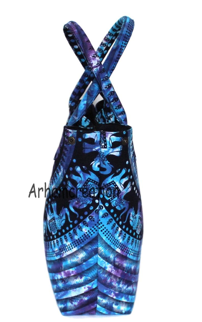 Handbags Indian Handmade Multi Tie Dye Cotton Handbag Women Shoulder Shopping Bag Elephant Mandala Bag Beach Towel Carrier Bag Tote Bag