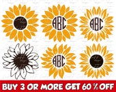 Sunflower Bundle SVG, Circle Monogram Frame Svg, Sunflower Clipart, Flower, Floral, Cricut Design, Silhouette, Sublimation Designs Downloads