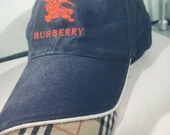 f79410d3fb7144 Vintage Authentic Mens Navy Blue Burberry Designer Baseball Cap Adjustable  S/M