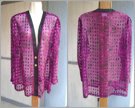 Pink Black Abstract Print Vintage Over Shirt,Sheer