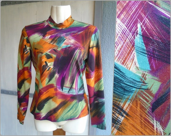 Vintage Colorful Abstract Print Elastic Top 90s,Lo