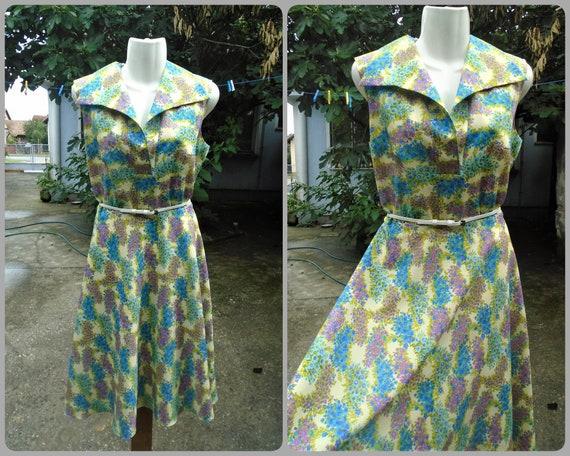 Vintage Lucie Linden Summer Dress,Colorful Floral