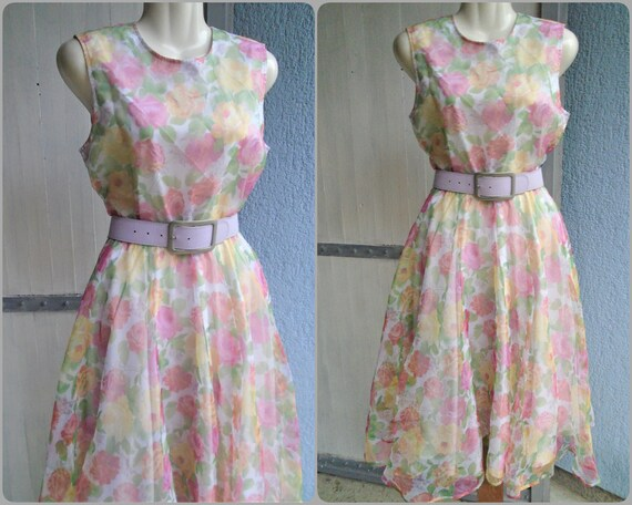 Floral Vintage Summer Dress,Sleeveless Midi Dress
