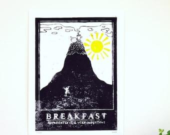 Breakfast Linocut Print by Glasgow Artist Alex Weir   Limited Edition Prints   Handmade Prints   Poster Art   Original Art   Illustration