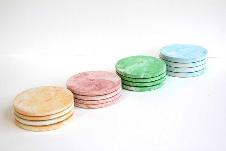 Coaster Set Handcast in Jesmonite with Faux Marble Finish  image 0