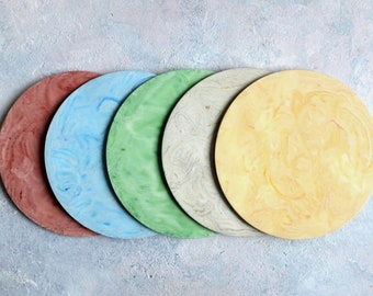 Custom Colour Circle Display Board Handcast in Jesmonite with Faux Marble Finish   Display Boards   Serving Boards   Display Furniture