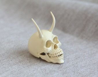 Mini Resin Demon Skull Sculptures   Original Artworks   Handmade Sculpture   Resin Art   Skull Gifts   Collectibles