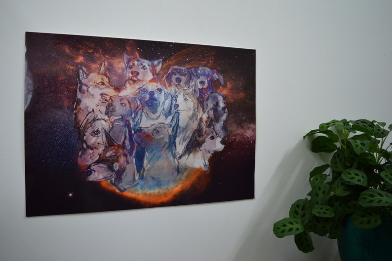 Puppies in Space A2 Poster  Wall Art  Dog Lover Gifts  image 0