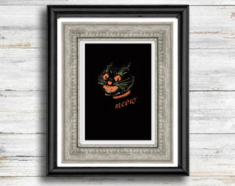 Vintage Halloween Fall Spooky Black Cat wall art printable wall art retro printable cozy fall art print Halloween wall decor Halloween Decor