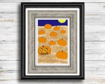 Vintage Halloween Fall wall art autumn printable wall art retro jack o' lantern pumpkin printables cozy fall art print Halloween wall decor
