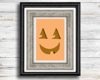 Fall wall art autumn printable wall art retro Halloween jack o' lantern pumpkin printables cozy fall art print Halloween wall decor