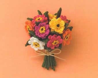 FLORAL BOUTONNI\u00c8RES CROCHET flowers spring bouquet brooch pin free shipping