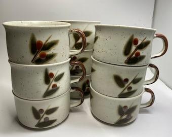 Otagiri Bittersweet Saucer Set of Seven Vintage 1970s Japanese Stoneware