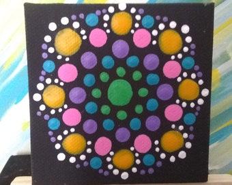 GOLDBLUE MANDALA Original Artwork on  Mini Canvas