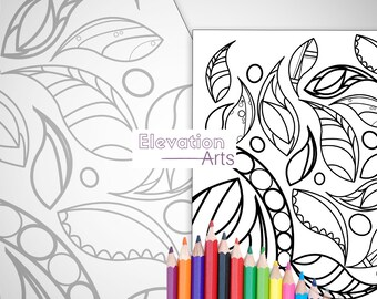 Leaves Print - Instant Download Coloring Print By Elevation Arts