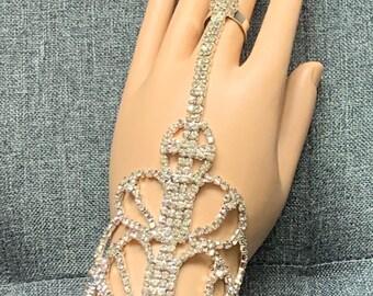 Silver Diamante Hand Jewellery Hand panja Bridal Wedding Eid indian Jewellery