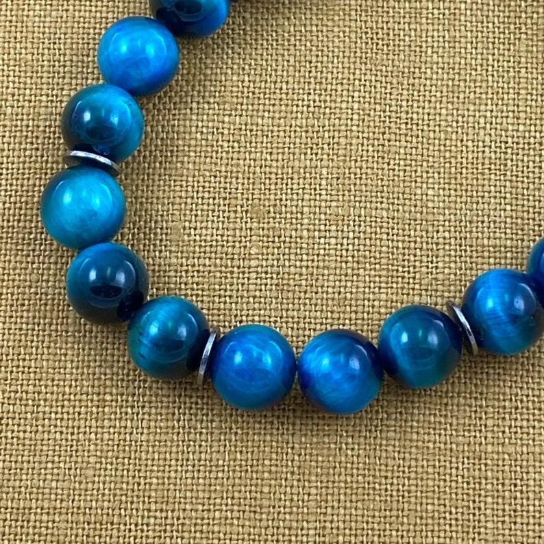 Tiger Eye Gemstone Bracelet 8MM Teal Blue Tiger Eye Bracelet Yoga Jewelry Healing Bracelet Eye of the Tiger SOOTHING Bracelet