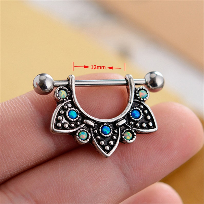Opal Nipple Shield,Nipple Ring,Nipple Piercing Nipple Barbell Ring,14g