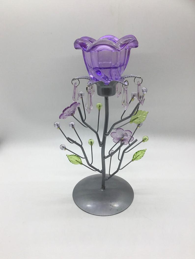 Purple Beaded Tea Light Candle Holder with Floral /& Leaf Design