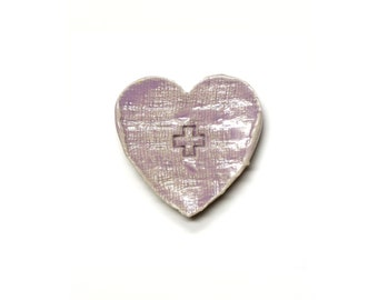 Heart with Cross - ceramic wall hanging by Franko B, contemporary art / sculpture