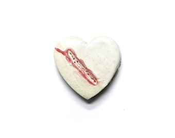 Wounded Heart - ceramic wall hanging by Franko B, contemporary art sculpture