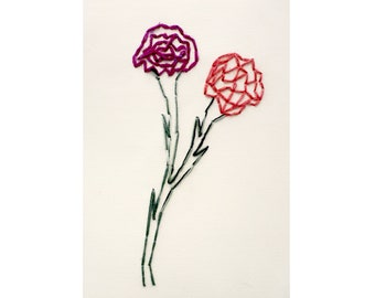 Stitched Drawing on Paper By Franko B (Two Roses)
