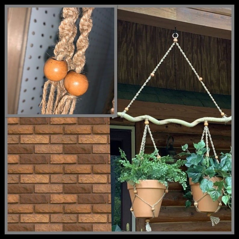 Wood w Natural twine and oak stained wooden beads macrame plant hanger.. *pots not included