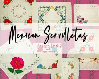 DIGITAL Vintage Linen Kit, Junk Journal Printable Labels, Floral Journaling Cards, Mexico Embroidered Napkins Textile, Embellishment, Supply