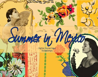 Digital Vintage Retro Mexico Ephemera, Junk Journal Printable Pages Summer Kit,  Doilies, Linens, Floral, Embroidery, Spanish Sentiments