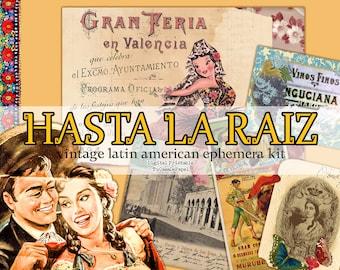 Junk Journal Printable Ephemera Kit, Vintage Mexican Latin Spanish Digital Art, Journaling Cards, Labels, Embellishments, Postcards Set
